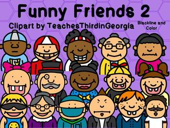 Funny Friends 2 Clipart Collection-Headshots-Commercial Use-32 images