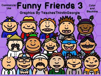 Funny Friends 3 Clipart Collection-Commercial Use-Headshots-32 images