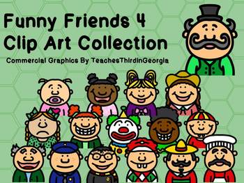 Funny Friends 4 Clipart Collection-Headshots-32 Images-Commercial Use