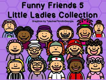 Funny Friends 5 Clipart Collection-Little Ladies-Commercia