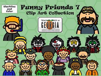 Funny Friends 7 Clipart Collection-Headshots-Commercial Use Fun
