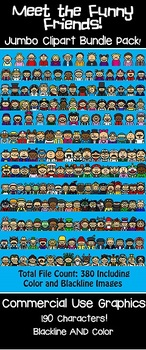Funny Friends JUMBO Bundle! 190 Different Characters-Headshots-Commercial Use