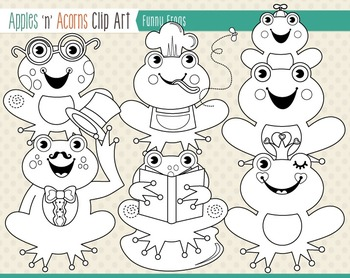 Funny Frogs Clip Art - color and outlines