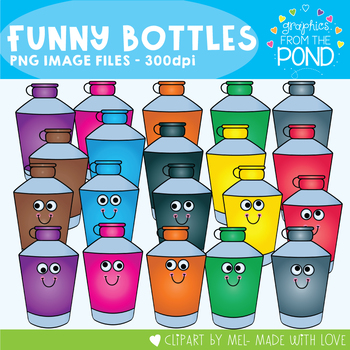 Funny Glue Bottles - Clipart for Teachers and Classrooms