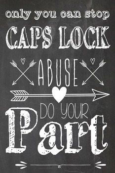 Funny Grammar Poster Only you can stop CAPS LOCK abuse!