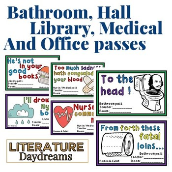 Funny Hall Passes Shakespeare Edition