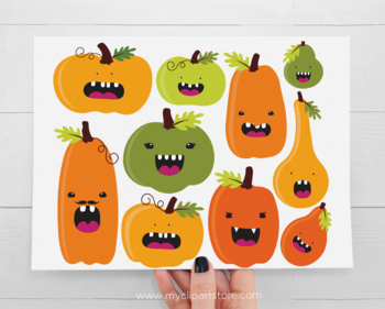 Funny Halloween Pumpkin Clipart with faces, Fall, Autumn, Thanksgiving
