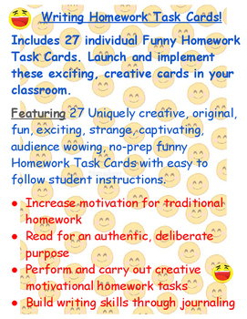 Homework Task Cards No Prep