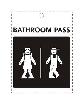 Funny Humorous Classroom Bathroom Pass w/ Restroom Icons