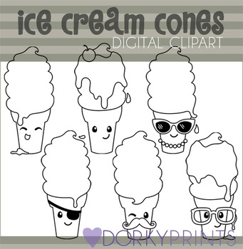 Funny Ice Cream Cones Black Line Clip Art