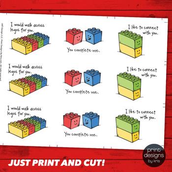 Lego Style Valentines Day Card - Printable Valentine - School Valentines