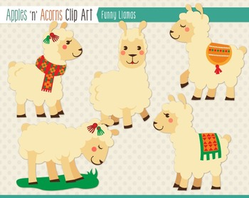 Funny Llamas Clip Art - color and outlines