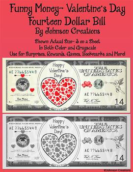 Funny Money- Valentine's Day $14 Bill