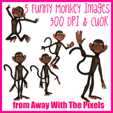 Funny Monkey Action Clip Art - 5 Clipart Images Mini Pack