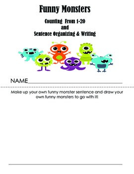 Funny Monsters I See Counting 1-20, Sight Word, and Sentence Writing Practice