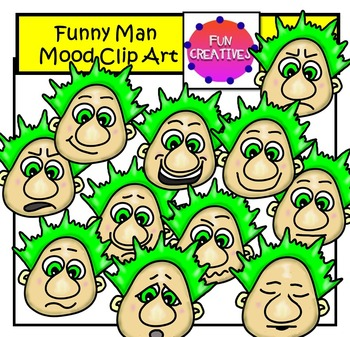 Funny Mood Man Faces Clip Art