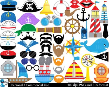 Funny Nautical Props - Digital ClipArt Personal Commercial Use 212 images cod186