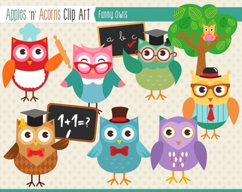 Funny Owls Clip Art - color and outlines