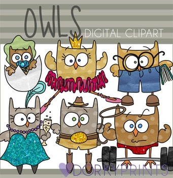 Funny Owls Digital Clip Art Images
