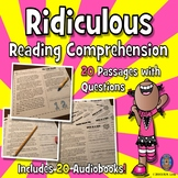 20 Funny Reading Comprehension: Fun Summer Reading Comprehension Passages