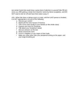 Funny Rules Used for Classroom Management or Discipline Issues