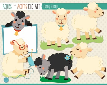 Funny Sheep Clip Art - color and outlines