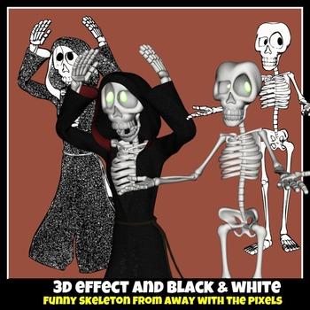 Funny Skeleton Clip Art 22 3D Effect & Blackline Images
