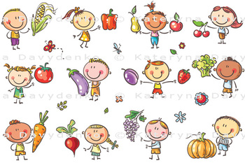 Funny Sketchy Kids with Fruits and Vegetables