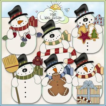 Funny Snowmen Clip Art - Christmas Snowman Clip Art - CU Colored Clip Art