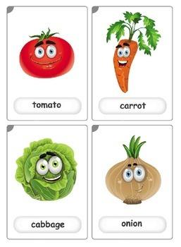Funny cartoon vegetables flashcards (12)