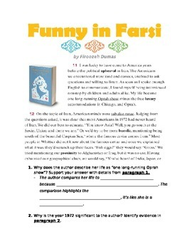"""Funny in Farsi"" Passage and Close reading questions"