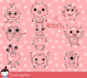 Funny little monsters digital stamps, Cute monsters digi stamps clipart