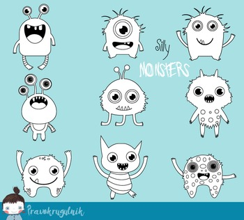 Funny little monsters digital stamps, Cute monsters digi s