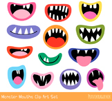 Funny monster mouths clipart, Silly ugly Halloween alien face elements teeth