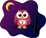 Funny owl with coffee cup sitting on tree branch late night.