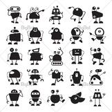 Funny robot cartoon character clip arts