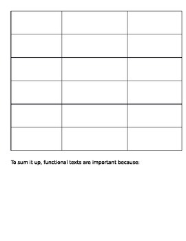 Funtional Text Graphic Organizer and Parent Letter