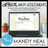 Fourth Grade Digital Self-Grading Fraction Math Assessment
