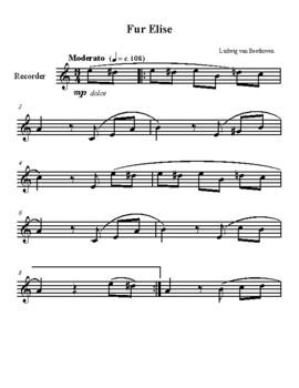 Fur Elise - Recorder Sheet Music