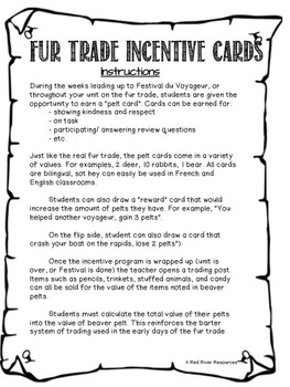 Fur Trade Incentive Cards