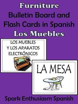 Furniture Bulletin Board and Flash Cards in Spanish