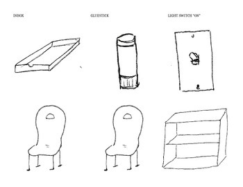 Furniture (Chairs, bookshelf. Misc: glue stick, inbox, and light switch)
