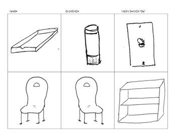 Furniture (Chairs, bookshelf. Misc: glue stick, inbox, and light switch) in PDF