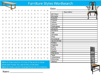 Furniture Styles Wordsearch Sheet Art and Design Starter Activity Keywords