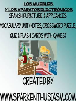 Furniture Vocabulary Lists, Crossword,Games, & Quiz Unit (Los Muebles)