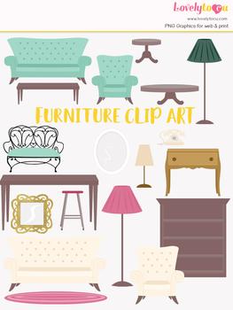 Furniture clipart, home decor clip art (LC16)