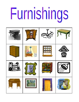 Furniture in English Bingo game
