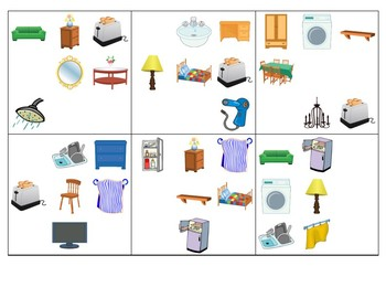 Furniture in the home (basic and advanced) Spot It game