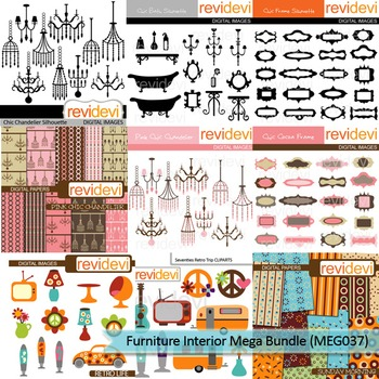 Furniture interior clip art mega bundle (9 packs)
