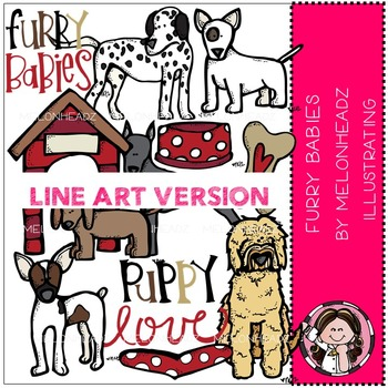 Furry Babies clip art - dogs - BLACK AND WHITE- by Melonheadz